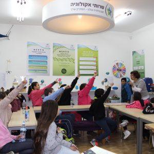 ילדים מרימים ידיים במהלך פעילות במרכז